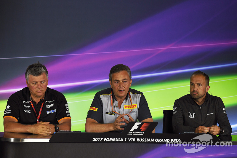 Otmar Szafnauer, Force India Formula One Team Chief Operating Officer, Mario Isola, Pirelli Sporting Director and Matt Morris, in the Press Conference