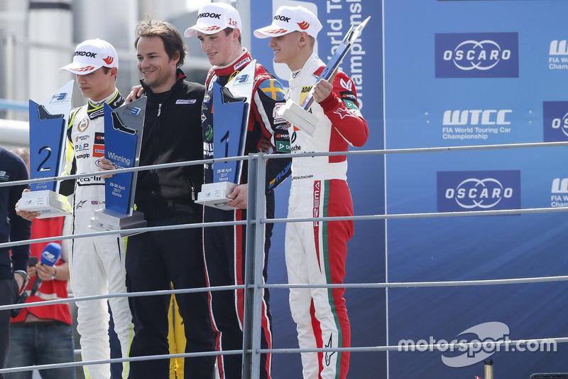 Podium: Race winner Joel Eriksson, Motopark Dallara F317 - Volkswagen, second place Lando Norris, Carlin Dallara F317 - Volkswagen, third place Mick Schumacher, Prema Powerteam, Dallara F317 - Mercedes-Benz