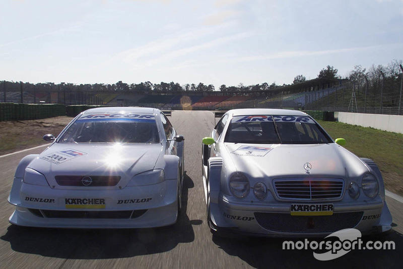 Mercedes-Benz CLK of Bernd Schneider, HWA AG and the Opel Astra V8 Coupe of Joachim Winkelhock