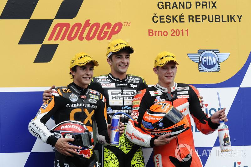 Podium : 1er Andrea Iannone, 2e Marc Márquez, 3e Stefan Bradl