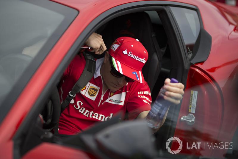 Kimi Raikkonen, Ferrari arrives in the Ferrari F12berlinetta