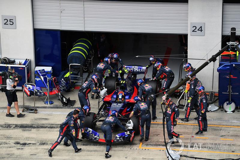 The car of race retiree Carlos Sainz Jr., Scuderia Toro Rosso STR12