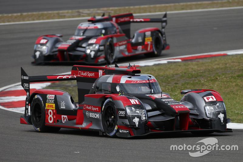 #8 Audi Sport Team Joest Audi R18 e-tron quattro: Lucas di Grassi, Loic Duval, Oliver Jarvis, #7 Audi Sport Team Joest Audi R18: Marcel Fässler, Andre Lotterer