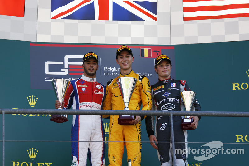 Podio: winner Jack Aitken, Arden International, second place Antonio Fuoco, Trident, third place Santino Ferrucci, DAMS
