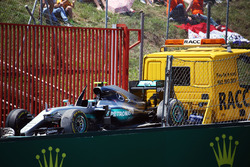 The Mercedes AMG F1 W07 Hybrid of Nico Rosberg, Mercedes AMG F1 is recovered back to the pits on the