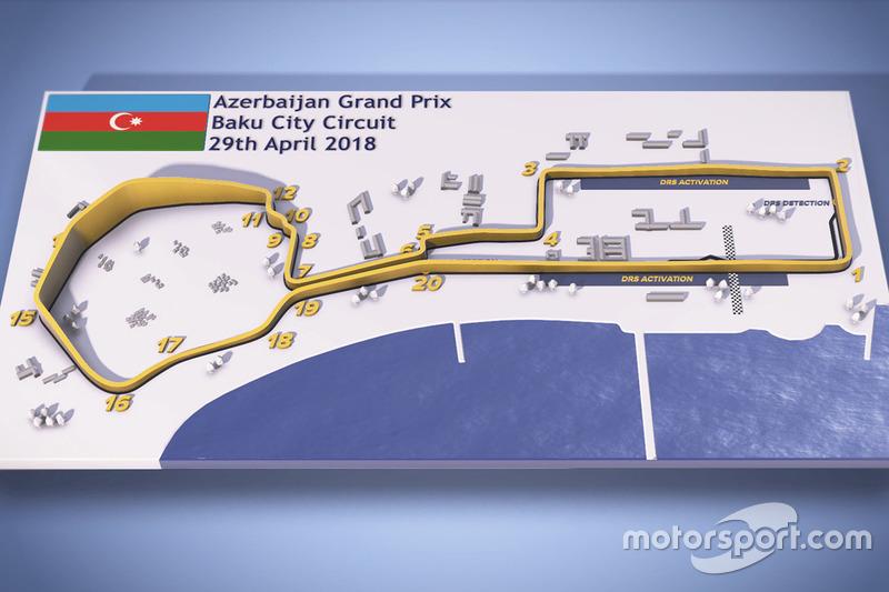 mappa del circuito cittadino di Baku