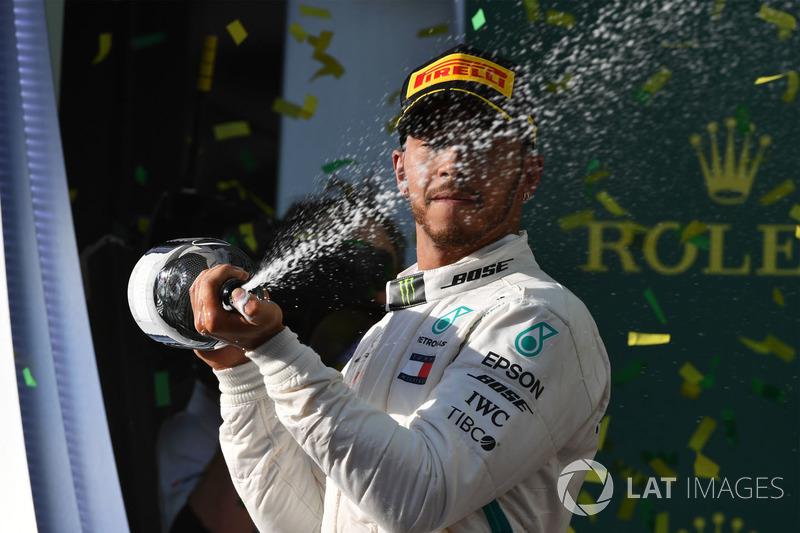 Lewis Hamilton, Mercedes-AMG F1 celebrates on the podium with the champagne
