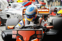 Fernando Alonso, McLaren, in Parc Ferme after Qualifying