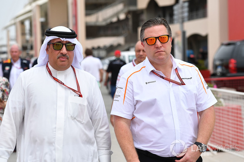 Sheikh Mohammed bin Essa Al Khalifa, CEO of the Bahrain Economic Development Board and McLaren Shareholder and Zak Brown, McLaren Executive Director