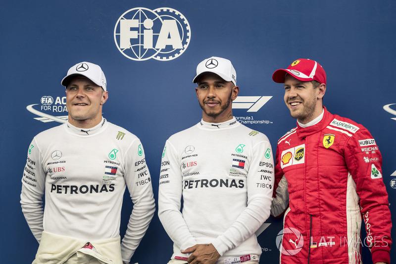 Valtteri Bottas, Mercedes-AMG F1, Lewis Hamilton, Mercedes-AMG F1 ve Sebastian Vettel, Ferrari