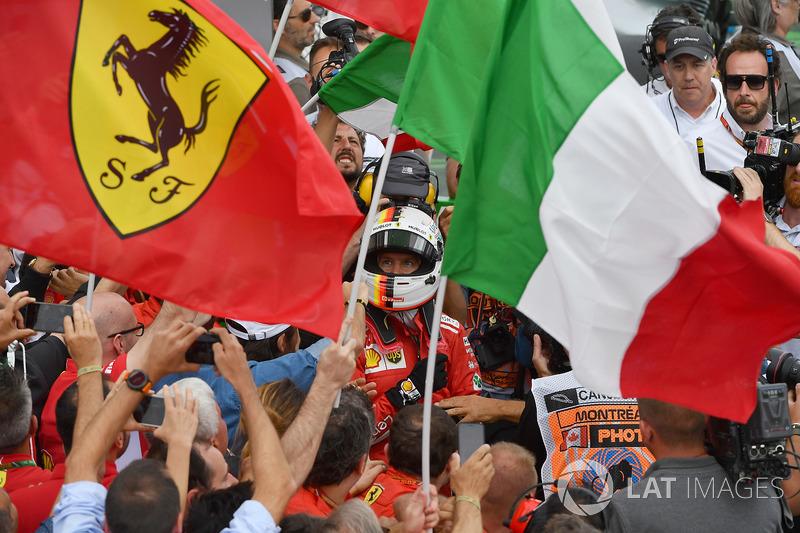 Race winner Sebastian Vettel, Ferrari celebrates in parc ferme