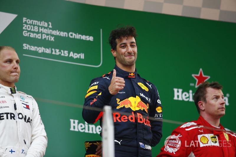 2018. Подіум: 1. Даніель Ріккардо, Red Bull. 2. Валттері Боттас, Mercedes. 3. Кімі Райкконен, Ferrari