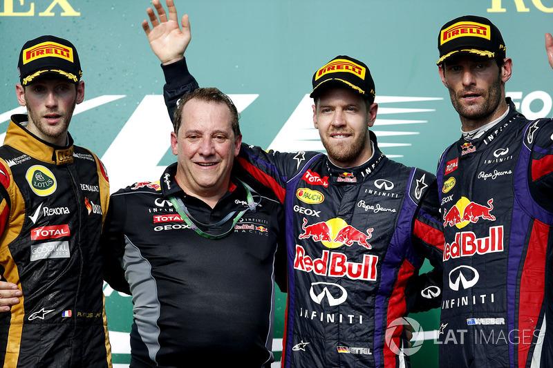 2013: 1. Sebastian Vettel, 2. Romain Grosjean, 3.Mark Webber
