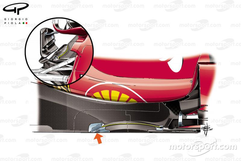 Detail van de vloer van de Ferrari SF70H