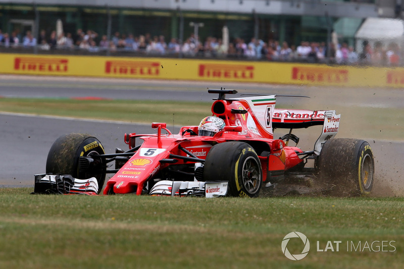 Lovely Sebastian Vettel, Ferrari SF70H, With A Front Puncture