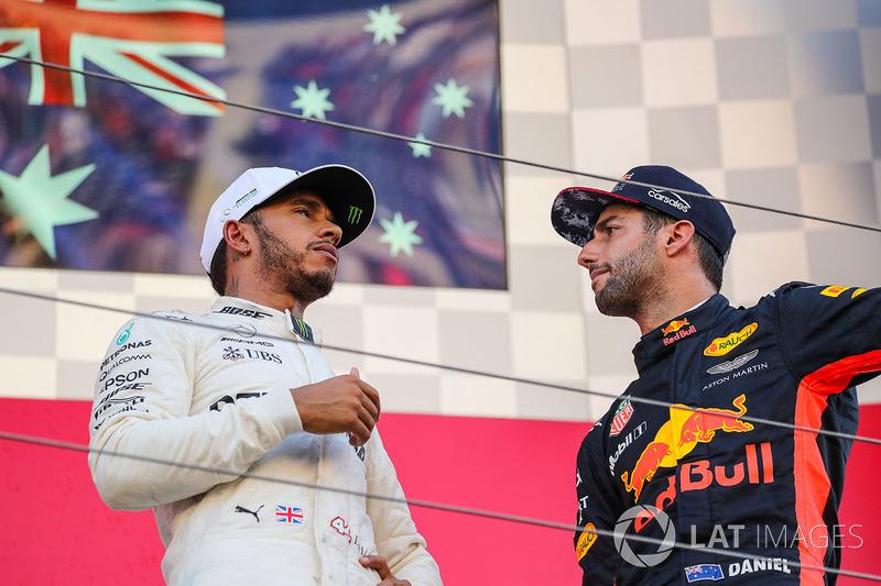 Race winner Lewis Hamilton, Mercedes AMG F1 and Daniel Ricciardo, Red Bull Racing celebrate on the podium