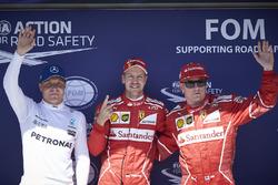 Sıralama turları ilk 3: Sebastian Vettel, Ferrari, Kimi Raikkonen, Ferrari, Valtteri Bottas, Mercedes AMG F1