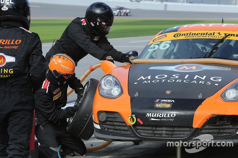 #56 Murillo Racing Porsche Cayman: Jeff Mosing, Eric Foss, pit action