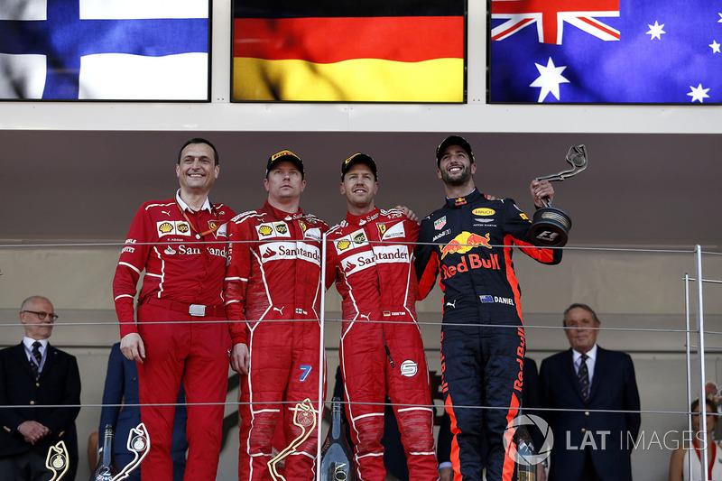 2017  1. Sebastian Vettel, 2. Kimi Raikkonen, 3. Daniel Ricciardo