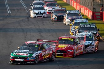 Chaz Mostert, Tickford Racing Ford leads at the start of the race
