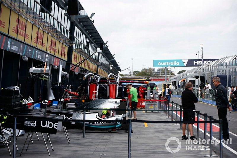 The Mercedes team prepare