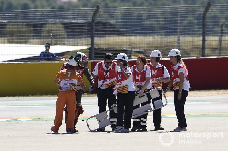 Хорхе Лоренсо, Ducati Team, після аварії на першому колі Гран Прі Арагону