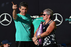 Carmen Lockhart, mother of Lewis Hamilton, Mercedes AMG F1 with the champagne