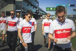 Charles Leclerc, Alfa Romeo Sauber F1 Team and Marcus Ericsson, Alfa Romeo Sauber F1 Team walk the track