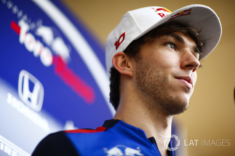 Pierre Gasly, Toro Rosso, talks to the press
