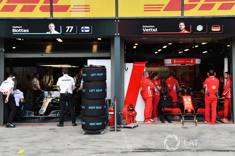 Mercedes AMG F1 and Ferrari garages