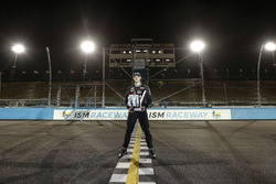 Race winner Josef Newgarden, Team Penske Chevrolet, on the start-finish line of the classic track, used for the last time today