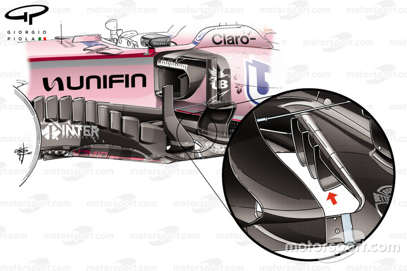 Force India VJM10 bargeboards, Mexico GP