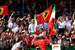 Sebastian Vettel, Ferrari celebrates in parc ferme and Lewis Hamilton, Mercedes-AMG F1 W09