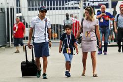 Felipe Massa, Williams with his wife Rafaela Bassi, and son Felipinho Massa,