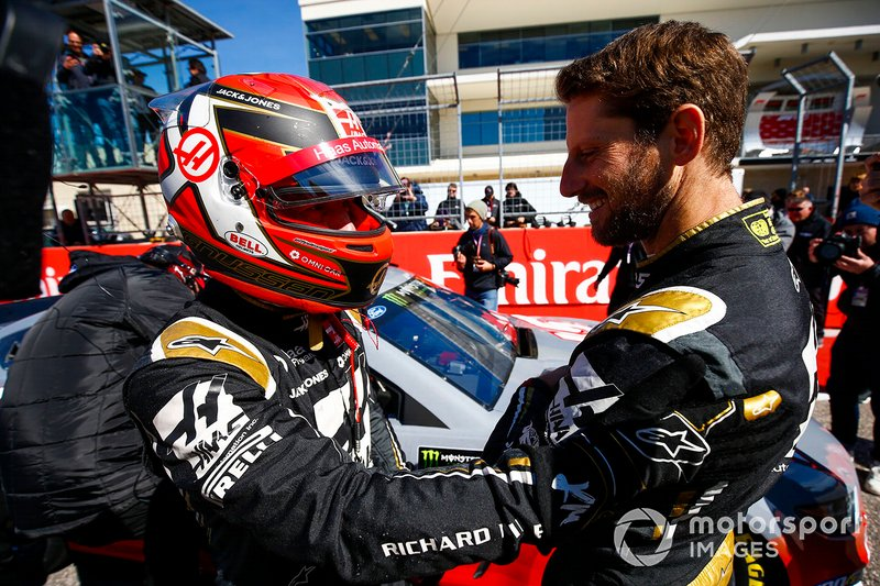Romain Grosjean, Haas F1 Team Team, and Kevin Magnussen, Haas F1 Team Team, ride with Tony Stewart