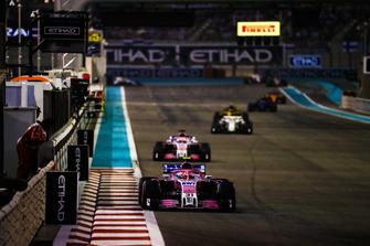 Esteban Ocon, Racing Point Force India VJM11, leads Sergio Perez, Racing Point Force India VJM11