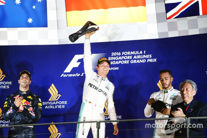 2016: 1. Nico Rosberg, 2. Daniel Ricciardo, 3. Lewis Hamilton