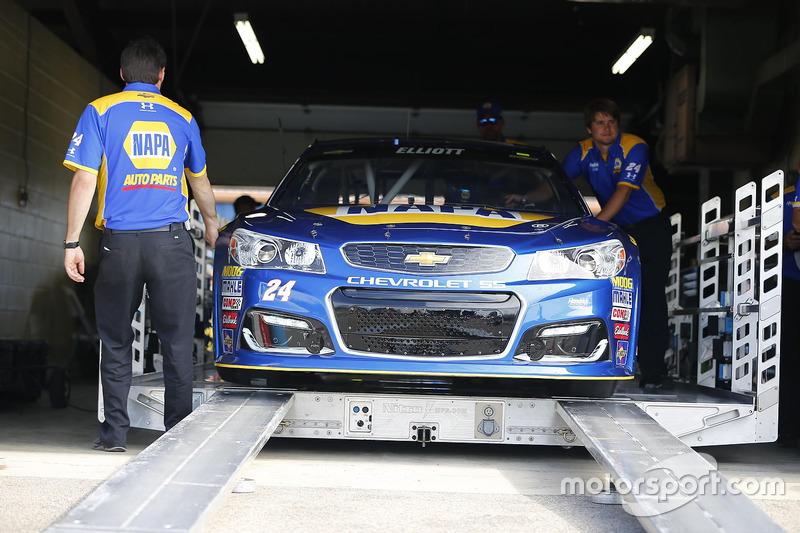 L'auto di Chase Elliott, Hendrick Motorsports Chevrolet, durante le verifiche