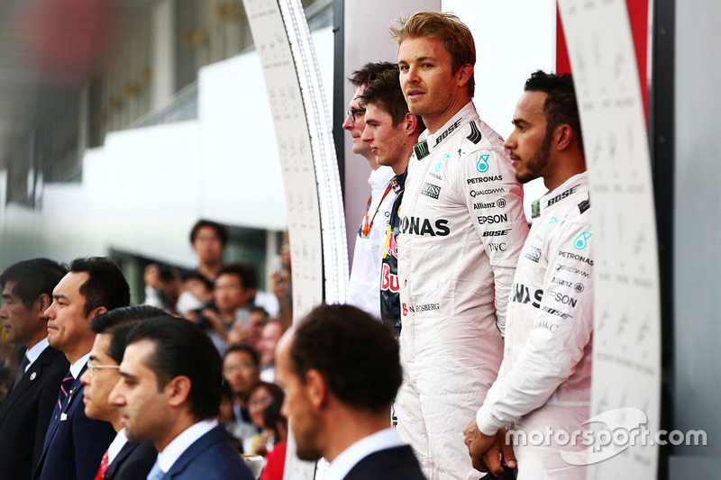 The podium (L to R): Max Verstappen, Red Bull Racing, second; Nico Rosberg, Mercedes AMG F1, race wi