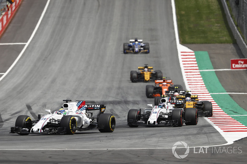 Феліпе Масса, Ленс Стролл, Williams FW40, Джоліон Палмер, Renault Sport F1 Team RS17