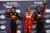 Ganador de la pole Sebastian Vettel, Ferrari, segundo Max Verstappen, Red Bull Racing, tercero Daniel Ricciardo, Red Bull Racing