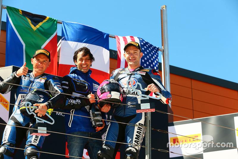 Podio: ganador de la carrera Lucas Mahias, GRT Yamaha Official WorldSSP Team, segundo lugar Sheridan