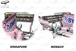 Force India VJM10 T-wing comparison, Monaco GP vs Singapore GP