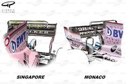 Comparaison du T-wing de la Force India VJM10, GP de Monaco GP vs GP de Singapour
