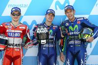 Pole de Maverick Viñales, Yamaha Factory Racing, segundo Jorge Lorenzo, Ducati Team, tercero Valentino Rossi, Yamaha Factory Racing