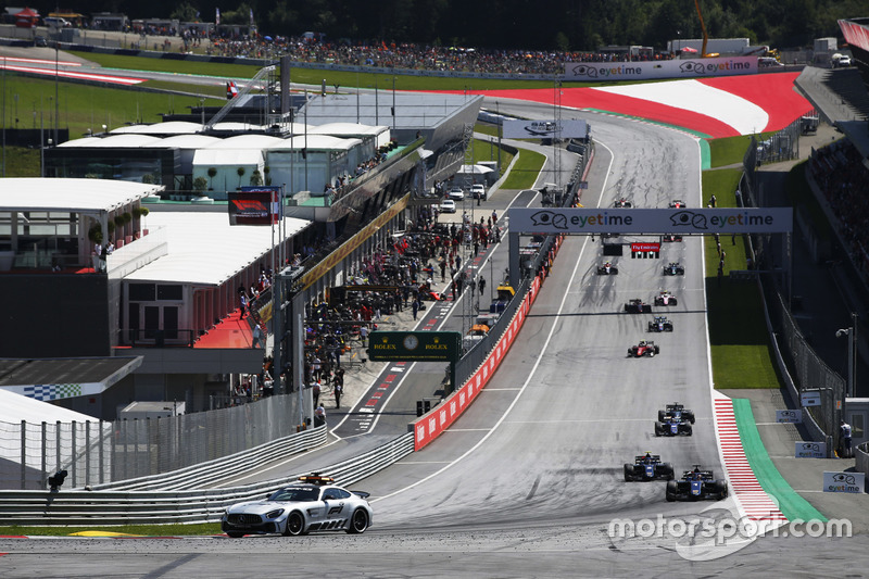 The Safety leads the grid away at the start