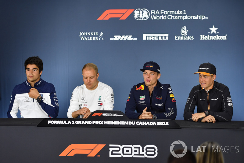 Lance Stroll, Williams, Valtteri Bottas, Mercedes-AMG F1, Max Verstappen, Red Bull Racing and Stoffel Vandoorne, McLaren in the Press Conference