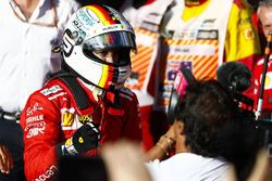 Race winner Sebastian Vettel, Ferrari, celebrates on arrival in Parc Ferme