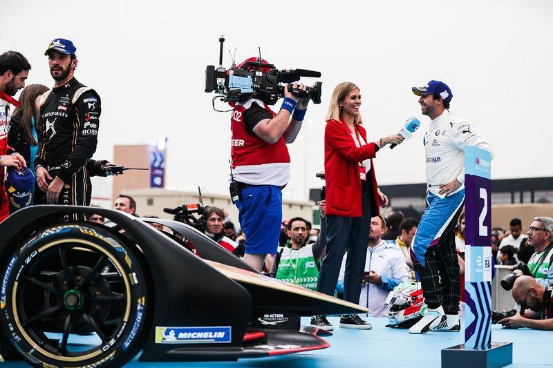 TV Presenter Nicki Shields interviews winner Antonio Felix da Costa, BMW I Andretti Motorsports before the podium