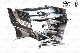 Aileron arrière de la Mercedes F1 AMG W09, GP d'Azerbaïdjan